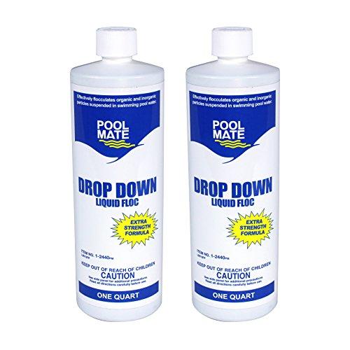 Pool Mate 1-2440-02 Drop Down Liquid Floc for Swimming Pools (2 Pack), 1 quart (Drop Down Pool)