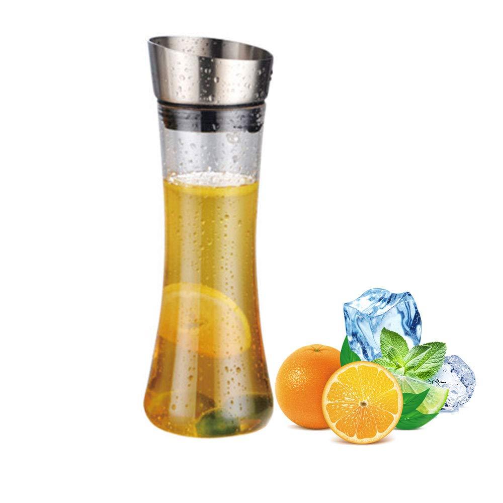 AOLVO Premium Orange Juice Pitcher with Automatic Lid 20 oz Shatterproof Acrylic Water Pitcher Bottle Food Grade Plastic Juice Carafe for Infused Wine Beer Lemon Fruit Juice Iced Tea or Herbs
