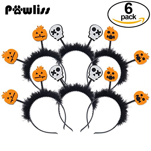 Pawliss 6 Pack Halloween Headband with Boppers for Kids Pumpkin & Skull Headpiece Costomes Accessories for Kids Girls Boys