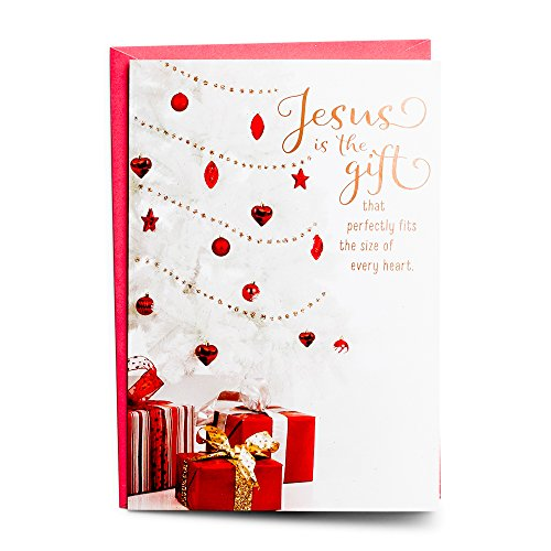 White Embossed Christmas Cards - Christmas Boxed Cards -White Christmas Tree - Jesus is a Gift