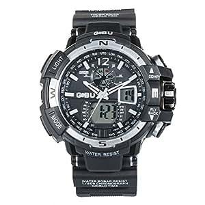 Primi Fashion resistente al agua deporte multifunción reloj LED Digital Silicona Color Blanco para Hombres