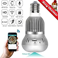 1080P Wifi Wireless IP Bulb Hidden Camera with Fisheye Lens 360° Panoramic for Remote Home Security System,Motion Detection and Two Way Talking for iPhone/Android Phone/ iPad