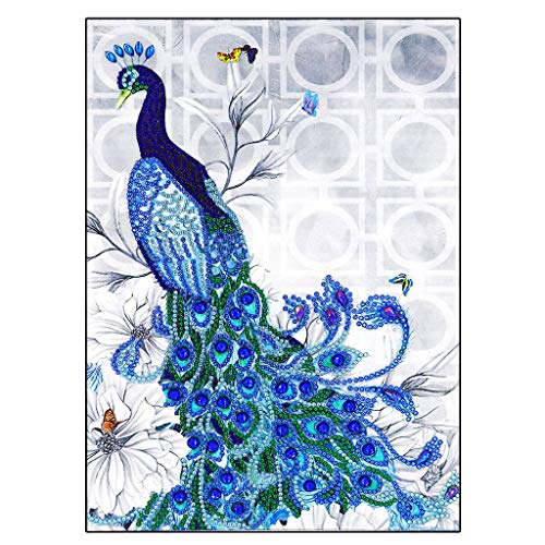 Special Shaped Diamonds Painting DIY 5D Partial Drill Cross Stitch Kits Crystal,A Peacock