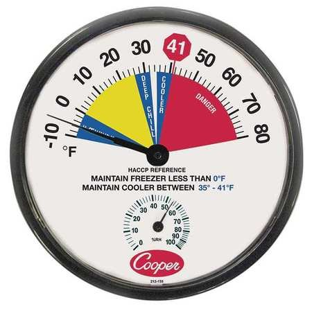 Cooper Atkins 12'' 10-80F Cooler Thermometer w/Humidity Scale by Cooper