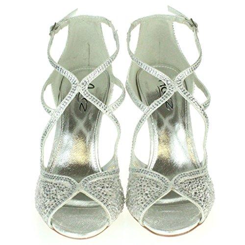 Frau Damen Diamant Abend Hochzeit Party Abschlussball Braut Peep Toe High Heel Sandalen Schuhe Größe Silber