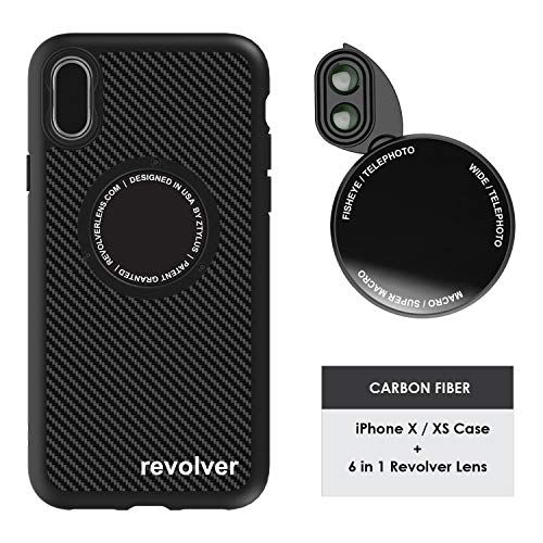 Ztylus Designer Revolver M Series Camera Kit: 6 in 1 Lens + iPhone X/XS Case, Smartphone Lens Kit Accessory- 2X Telephoto Lens, Macro/Super Macro Lens, Fisheye/Wide Angle Lens (Black Carbon Fiber)