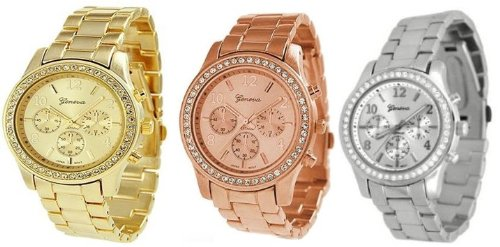 NYKKOLA Unisex Metal Watches, 3PCs Silver Gold and Rose Gold Plated Classic Round Geneva Ladies Watch from Geneva