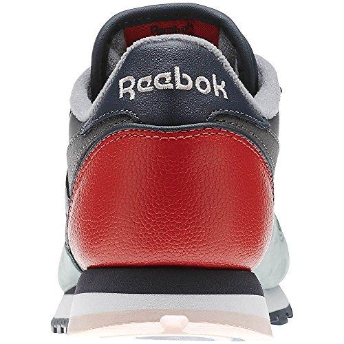 Reebok - CL Lthr PM - V66302 - Couleur: Bleu marine-Gris-Rouge - Pointure: 39.0