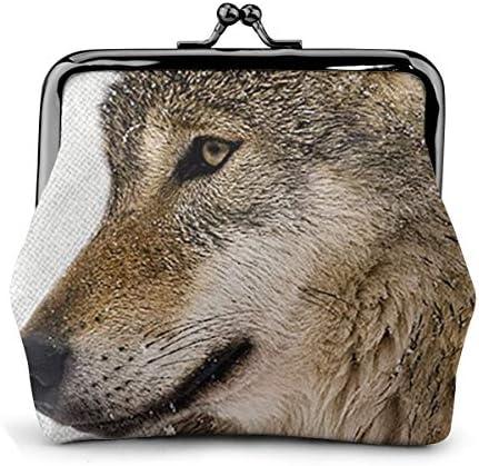 ホワイトサン がま口 財布 小銭入れ 狼 11.5cm×10.5cm×3cm レザー 小物入れ コインケース