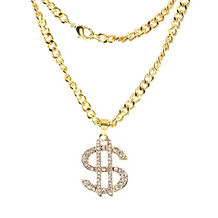 Gold Chains For Sale >> Amazon Com Wocoo Chains Gold Chain For Men With Dollar Sign Pendant