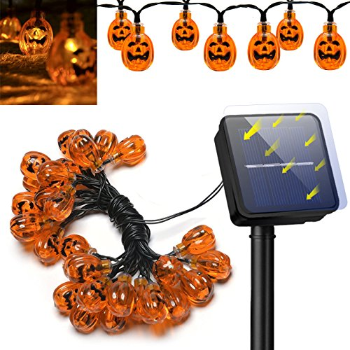 Halloween 3D Solar Pumpkin String Lights;Anwish 20 pcs LED Orange Pumpkin Halloween String Lights Party Decoration Bulb 2 Modes Ghost Steady / Flickering Terror LED Night Light