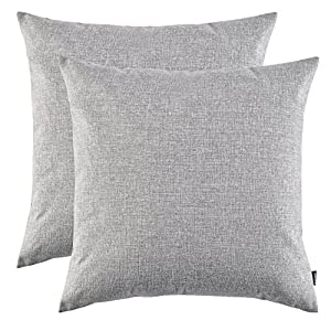 Set of 2, Artcest Decorative Linen Bed Throw Pillow Case, Sofa Durable Modern Stylish, Comfortable Cushion Cover for Couch (Grey, 18x18 inches)