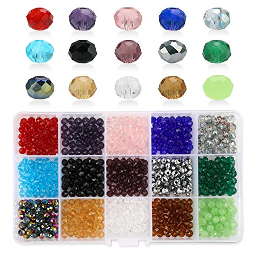Phogary 750pcs Glass Beads, Mixed Colors Crystal Briolette Beads Assorted Kit Multi-Colors Lustered Loose Spacer Beads, 6mm Rondelle Shape for Jewelry Making, DIY Crafting (15 Colors)