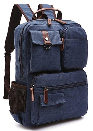 Canvas Backpack, Aidonger Vintage Canvas School Backpack Hiking Travel Rucksack Fits 14'' Laptop (Dark Blue-48)