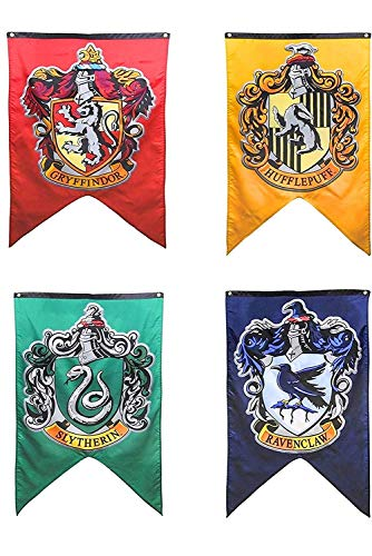 "Harry Potter Complete Hogwarts House Wall Banners, Ultra Premium Double Layered Indoor Outdoor Party Flag - Gryffindor, Slytherin, Hufflepuff, Ravenclaw - 30""X 50"" (4PACK)"