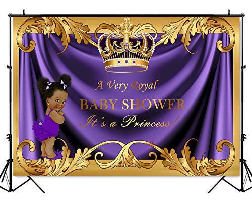 - Mehofoto Baby Shower Backdrop Royal Little Princess Purple Crown Photography Background 7x5ft Vinyl Royal Purple Gold Baby Shower Party Banner Backdrops