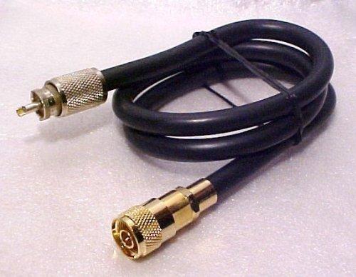 Redman CB Made 3 ft RG 8U coax ADAPTER Jumper GOLD N 9913 Male & PL259 Cb Ham Radio