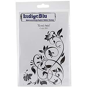 Sello de goma IndigoBlu pegatina - Swirl hoja diseño de flores
