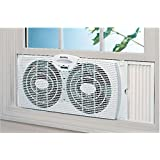 Holmes Twin Window Fan Reversible Dual Blade Exhaust Adjustable Portable Fans, Slim design allows for use with screen in place