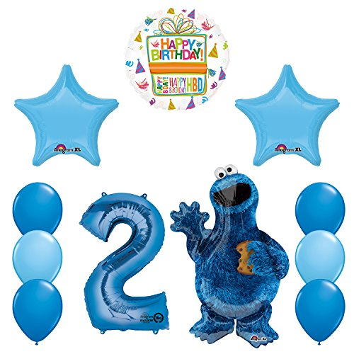 Mayflower Products Sesame Street Cookie Monsters 2nd Birthday party supplies and Balloon Decorations -