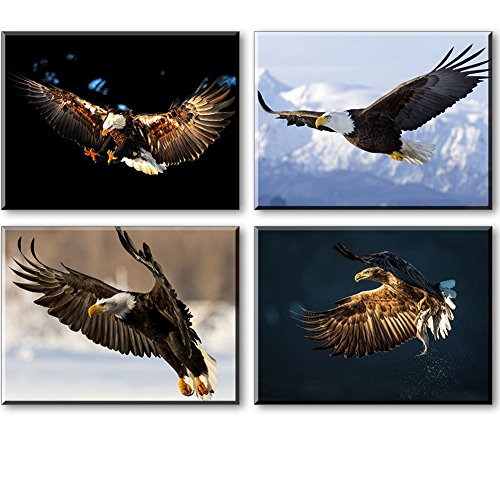 Artisweet Canvas Prints Picture Sensations Framed Waterproof 4-pane Flying Eagle Canvas Art