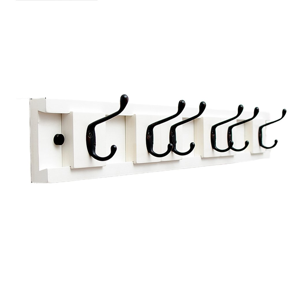 WHITE-6 Tingting Wall Mounted Coat Rack The Door Hook Hanger Wall Hooks Movable Metal Clothes Hooks Nail Inssizetion Key Hook Solid Wood (3 colors, 5 (color   Retro-5)