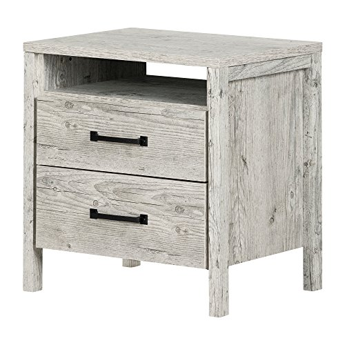 (South Shore 11898 Gravity 2-Drawer Nightstand, Seaside Pine)