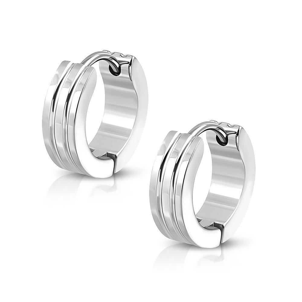 Pure 316 - 4mm | Surgical Stainless Steel 316L Grooved Hoop Huggie Earrings Leviev Ltd. JK-ESV474