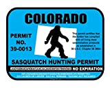 JS Artworks Colorado Sasquatch Hunting Permit License Bigfoot Vinyl Sticker Decal