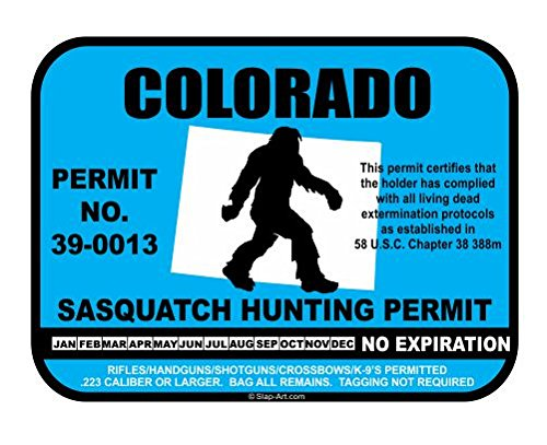 Colorado Sasquatch Hunting Permit License Bigfoot Vinyl Sticker Decal