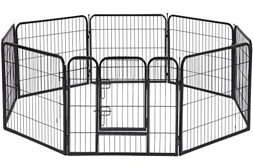 BestPet Dog Pen Dog Playpen Extra Large Indoor Outdoor Dog Fence Heavy Duty 8 Panels 32 Inches Exercise Pen Dog Crate…