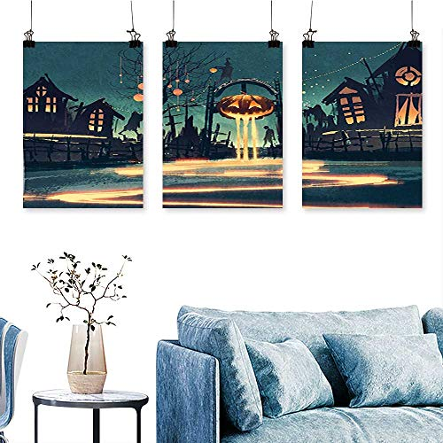 SCOCICI1588 3-Piece Triptych House Halloween Theme Night Pumpkin and Haunted House Ghost Town Artful Teal for Wall Decor Home Decoration No Frame 30 INCH X 60 INCH X -