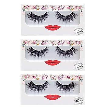 53af532deb8 Amazon.com : False Eyelashes Dramatic Strip Lashes - LashXO Lucky Lola-3pack  Premium False Eyelashes Compare to brand Make Up Forever and House of Lashes  : ...