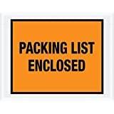 "Aviditi PL22 Pre-Printed Envelope, ""Packing List Enclosed"", 7"" Length x 5-1/2"" Width x 2 mil Thick, Orange (Case of 1000)"