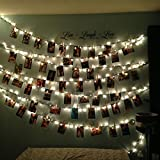 String Lights, LED Photo Clips Lights, Party Lights for Hanging Artwork Photos Memos and Paintings, Battery Powered, 10 Feet, (Warm White) (20)