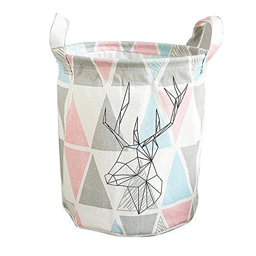 Fan-Ling Foldable Muticolor Storage Bin, Linen Desktop Storage Basket,Closet Toy Box Container Organizer Fabric Basket,Waterproof Storage Basket for Storing Parts, Stationery, Crafts, Jewelery (B)
