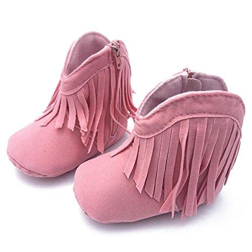 hibote Muchacha Bebé Prewalker Sólidos Zapatos para Niños La Franja con Suela Blanda Antideslizante Bebés y Niños Pequeños Botas Botines