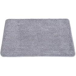 """Indoor Doormat Super Absorbs Mud Absorbent Rubber Backing Non Slip Door Mat for Front Door Inside Floor Dirt Trapper Mats Cotton Entrance Rug, 20""""x 31.5"""" Shoes Scraper Machine Washable Carpet (Gray)"""