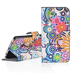 E D World Deluxe Colorized Flower for Samsung Galaxy Xcover 3, PU Leather Magnetic Stand Wallet Card Slot Holder Cover Flip Mobile Phone Bags & Cases For Samsung SM-G388F
