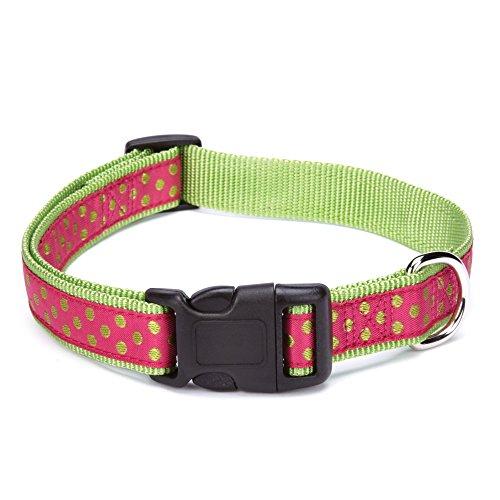 East Side Collection Nylon Polka Dot Dog Collar, 18–26-Inch, Raspberry