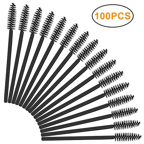 100Pcs Disposable Eyelash Mascara Brushes, Eye Lash Applicator Eyebrow Brushes Wands Makeup Kits ()