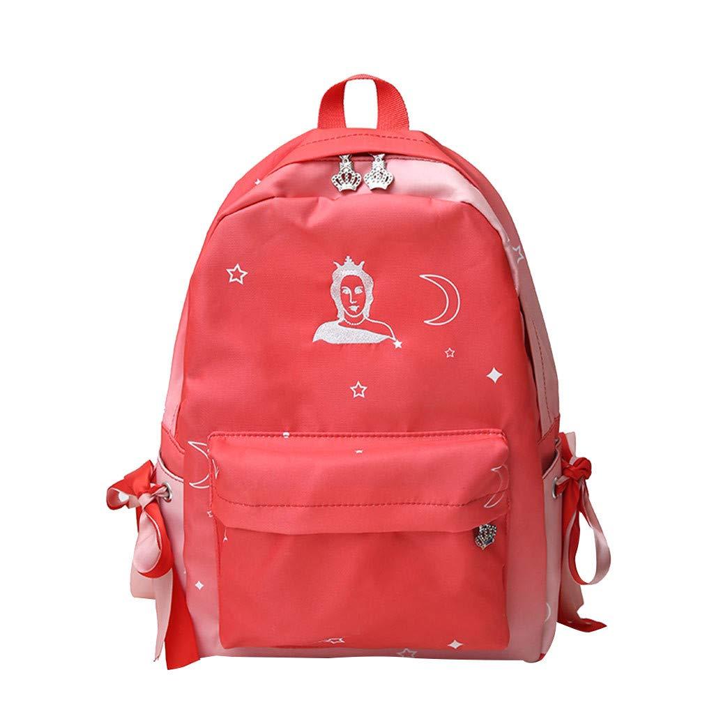 Arrowsy Women Bag Unisex Backpack Travel Bag Back Gradient Color Student Bag (Red)