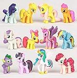 12PCS/SET PVC Cute Horse Action figures Toy doll Earth Ponies Unicorn Pegasus Alicorn Bat Ponies figure 3-5cm Each Piece