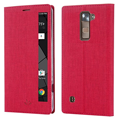 LG Stylo 2 Plus Case,LG Stylus 2 Plus Case Leather Flip Case with View Window Stand Kickstand Magnetic Closure TPU Bumper Full Cover Slim Leather Case for LG Stylus 2 Plus/Stylo 2 Plus(Rose)