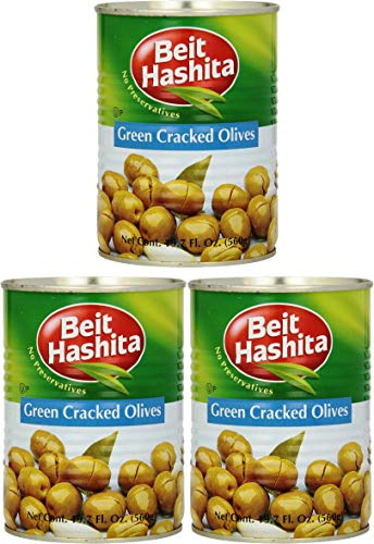 Beit Hashita Green Cracked Olives, 19.7oz Can (Pack of 3, Total of 59.1 Oz)