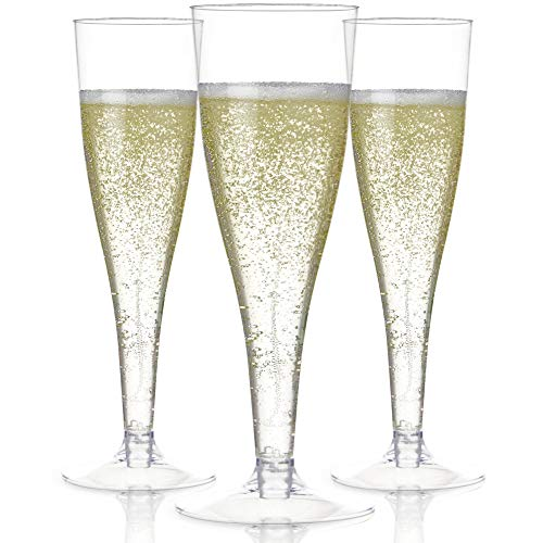 100 Plastic Champagne Flutes Disposable | Clear Plastic Champagne Glasses for Parties | Clear Plastic Cups | Plastic Toasting Glasses | Mimosa Glasses | Wedding Party Bulk Pack (High End Champagne Glasses)