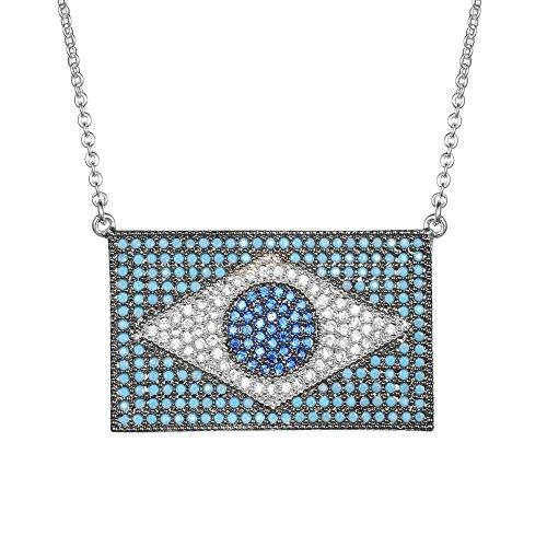 KIVN Fashion Jewelry Brazilian Flag Cubic Zirconia Pendant Necklaces for Women(Turquoise) Brazilian Jewelry