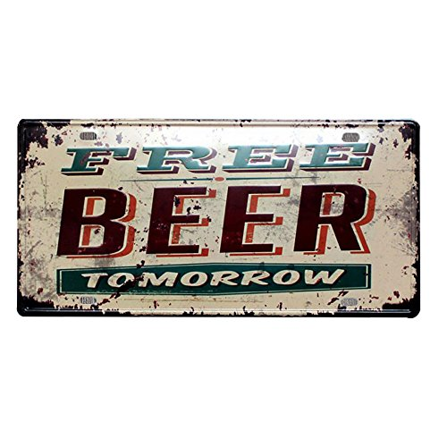 BestQT Retro Vintage Signs Free Beer Tomorrow Metal License Plate Home Decor Tin Sign for Bar Pub Garage Decorative Art Painting (Antique Beer)