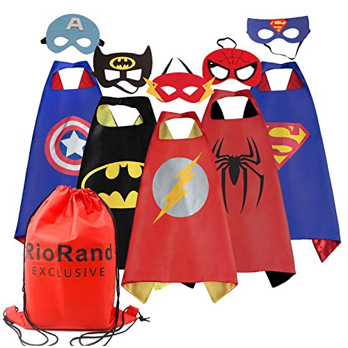 RioRand 5 Pack Cartoon Dress up Costumes Satin Capes Set with Felt Masks and  Exlusive  Bag for  Boys