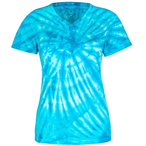 - Magic River Ladies V Neck Tie Dye T Shirts - Turquoise Cyclone - Women's XL